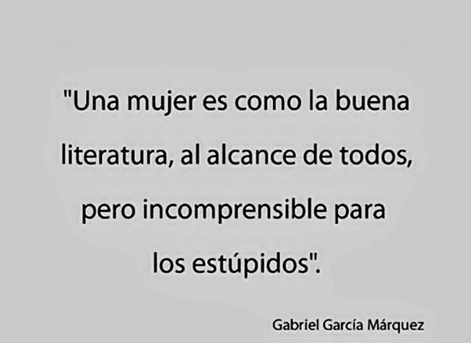 Una mujer es como la buena literatura, al alcance de todos, pero incomprensible para los estúpidos.