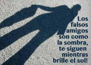 Los falsos amigos son como la sombra, te siguen mientras brille el sol.