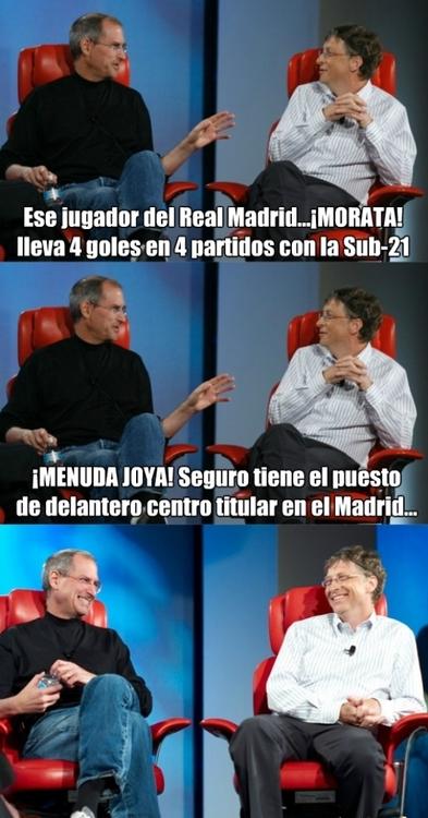 Ese jugador del Real Madrid...Morata, lleva 4 goles en 4 partidos. Menuda Joya. Seguro tiene el puesto de delantero centro titular en el Madrid...
