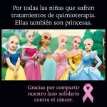 Por todas las niñas que sufren tratamientos de quimioterapia. Ellas también son princesas. Gracias por compartir nuestro lazo solidario contra el Cáncer.