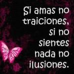 Si amas no traiciones, si no sientes nada no ilusiones.