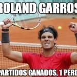 Roland Garros, 58 partidos ganados, 1 perdido.