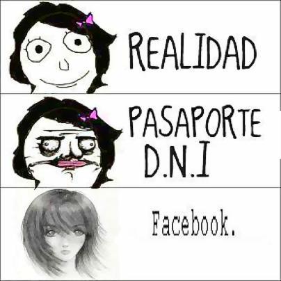 Imagen de la Realidad y Facebook. Realidad. Pasaporte. DNI. Facebook.