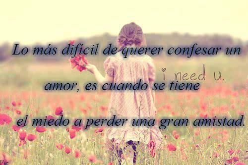 Lo más difícil de querer confesar un amor, es cuando se tiene el miedo a perder una gran amistad.