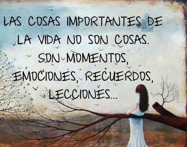 Las cosas importantes de la vida no son cosas. Son momentos, emociones, recuerdos, lecciones...