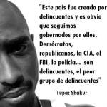 Este país fue creado por delincuentes y es obvio que seguimos gobernados por ellos. Demócratas, Repúblicanos, La CIA, el FBI, la policia...Son delincuentes, el peor grupo de delincuentes. Tupac Shakur.