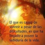 El que es capaz de sonreir a pesar de las dificultades, es que ha llegado a poseer la sabiduría de la vida.