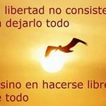 La Libertad no consiste en dejarlo todo...sino en hacerse libre de todo.