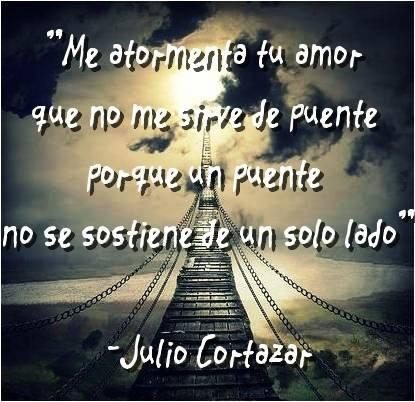 Me atormenta tu amor que no me sirve de puente porque un puente no se sostiene de un solo lado. Julio Cortazar