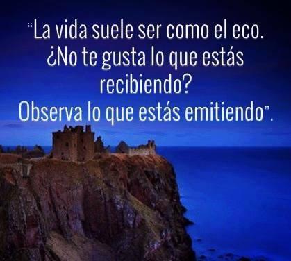 La Vida suele ser como el eco. ¿No te gusta lo que estás recibiendo? Observa lo que estás emitiendo.