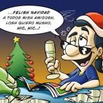 Felish Navidad, A todos mish amigosh, losh quiero musho, hic, hic..
