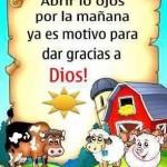 Abrir los ojos por la mañana ya es motivo para dar gracias a Dios.