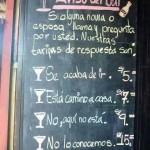 Aviso del Bar y Tarifas