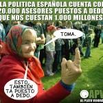 La política Española cuenta con 20.000 asesores puestos a dedo que nos cuestan 1.000 millones.