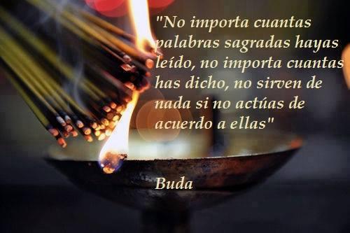 No importa cuantas palabras sagradas hayas leído, no importa cuantas has dicho, no sirven de nada si no actúas de acuerdo a ellas. Buda