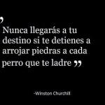Nunca llegarás a tu destino si te detienes a arrojar piedras a cada perro que ladre. Winston Churchill