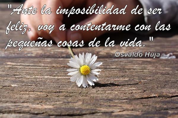 Ante la imposibilidad de ser feliz, voy a contentarme con las pequeñas cosas de la vida. Osvaldo Huja