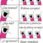 ¿Qué somos?. Españoles. ¿Qué tenemos? Politicos corruptos. ¿Algo más? Mucho paro y pobreza por culpa de politicos corruptos. ¿Y qué hacemos? Seguir votándolos.
