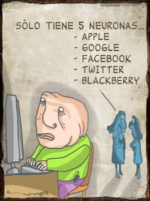 Sólo tiene 5 neuronas...Apple, Google, Facebook, Twitter, Blackberry.