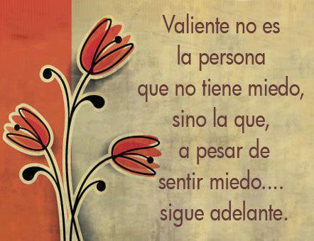 Valiente no es la persona que no tiene miedo, sino la que a pesar de sentir miedo sigue adelante
