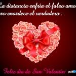 Feliz día de San Valentín. La distancia enfría el falso amor, pero enardece el verdadero.