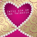 Feliz día de San Valentín rodead@ de un hermoso corazón de perlas.