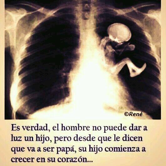 Es verdad, el hombre no puede dar a luz un hijo, pero desde que le dicen que va ser papá, su hijo comienza a crecer en su corazón...