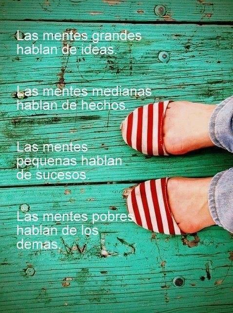 Las mentes grandes hablan de ideas. Las mentes medianas hablan de hechos. Las mentes pequeñas hablan de sucesos. Las mentes pobres hablan de los demás.