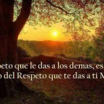 El Respeto que le das a los demás, es el claro reflejo del Respeto que te das a ti Mismo.