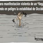 """Clara manifestación violenta de un """"ilegal"""""""