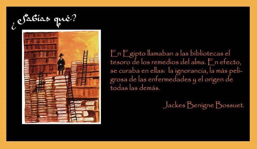 En Egipto llamaban a las bibliotecas el tesoro de los remedios del alma. En efecto, se curaba en ellas: la ignorancia, la más peligrosa de las enfermedades y el origen de todas las demás.