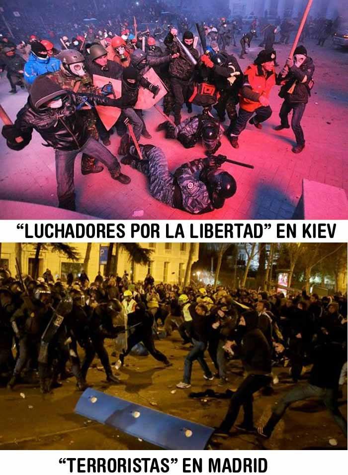 Luchadores por la libertad en Kiev. Terroristas en Madrid.