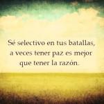 Sé selectivo en tus batallas, a veces tener paz es mejor que tener la razón.