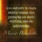 """""""Que alguien te haga sentir cosas sin ponerte un dedo encima, eso es admirable"""" Mario Benedetti"""