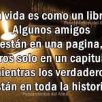 La vida es como un libro. Algunos amigos están en una página, otros solo en un capítulo, mientras los verdaderos están en toda la historia.