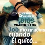 Muchos dan gracias a Dios cuando Él da... Job dió gracias cuando Él quitó... Alábale en todo tiempo