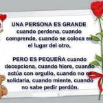 Una persona es grande cuando perdona, cuando comprende, cuando se coloca en el lugar del otro. Pero es pequeña cuando decepciona, cuando hiere...
