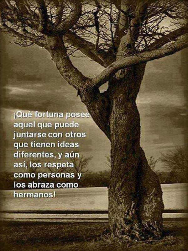 Que fortuna posee aquel que puede juntarse con otros que tienen ideas diferentes, y aún así, los respeta como personas y los abraza como hermanos