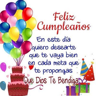 Feliz Cumpleaños. En este día quiero desearte que te vaya bien en cada meta que te propongas. Que Dios te Bendiga.