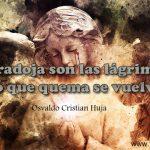 Que paradoja son las lagrimas; el fuego que quema se vuelve agua. Osvaldo Cristian Huja