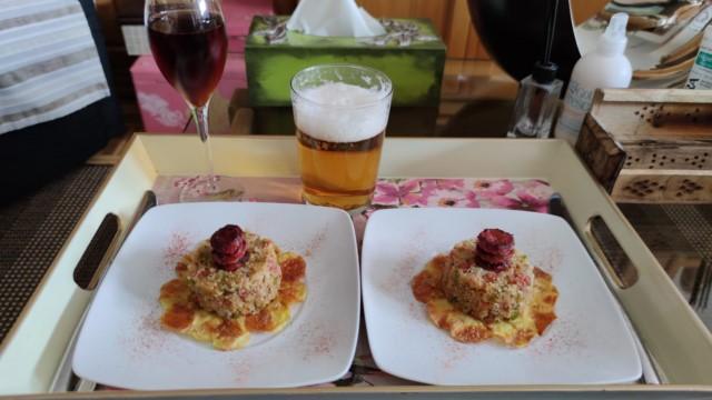 quinoa al modo de un arroz a la zamorana sobre crepé de patata....