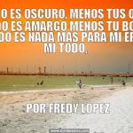 Todo es oscuro, menos tus ojos. Todo es amargo menos tu Boca. Todo es nada más para mi eres mi todo. Fredy López