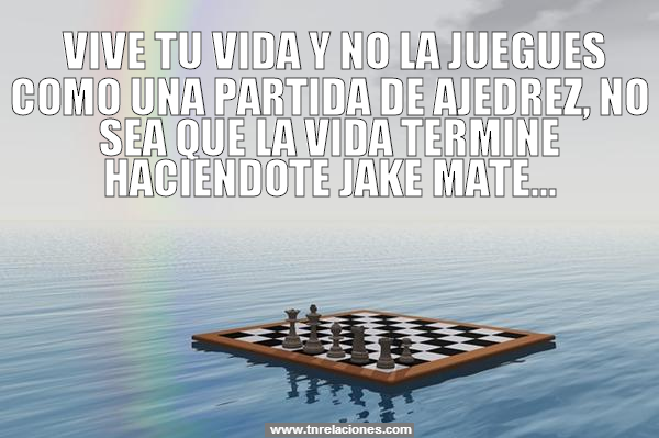Vive tu vida y no la juegues como una partida de ajedrez, no sea que la vida termine haciéndote Jake Mate.